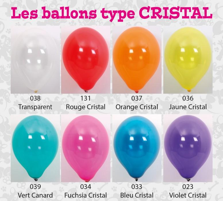 Toutes les couleurs de ballons cristal