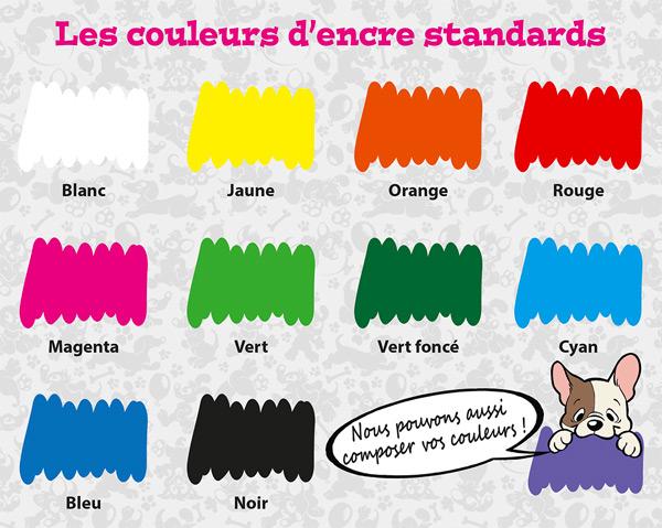 Toutes nos couleurs d'encre standards