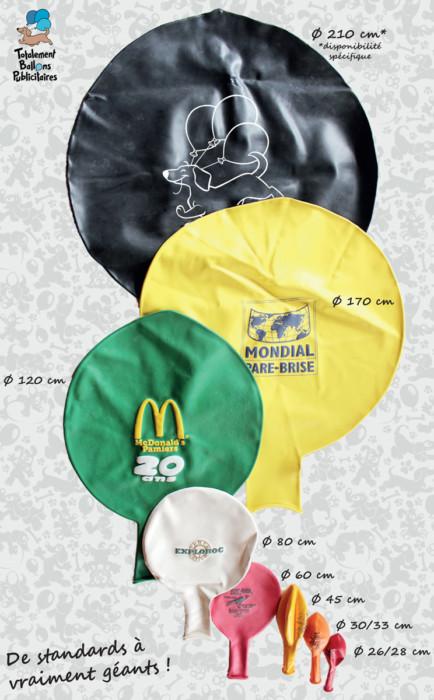 Toutes les dimensions de nos ballons