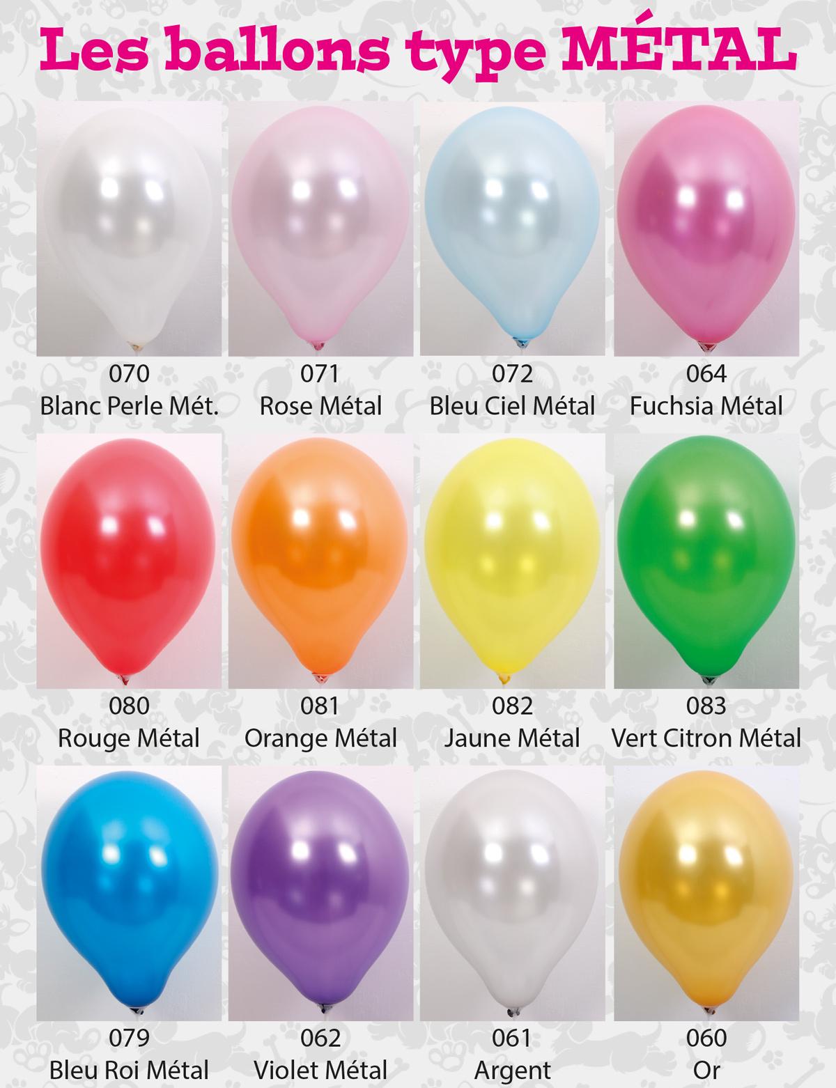 Toutes les couleurs de ballons métal